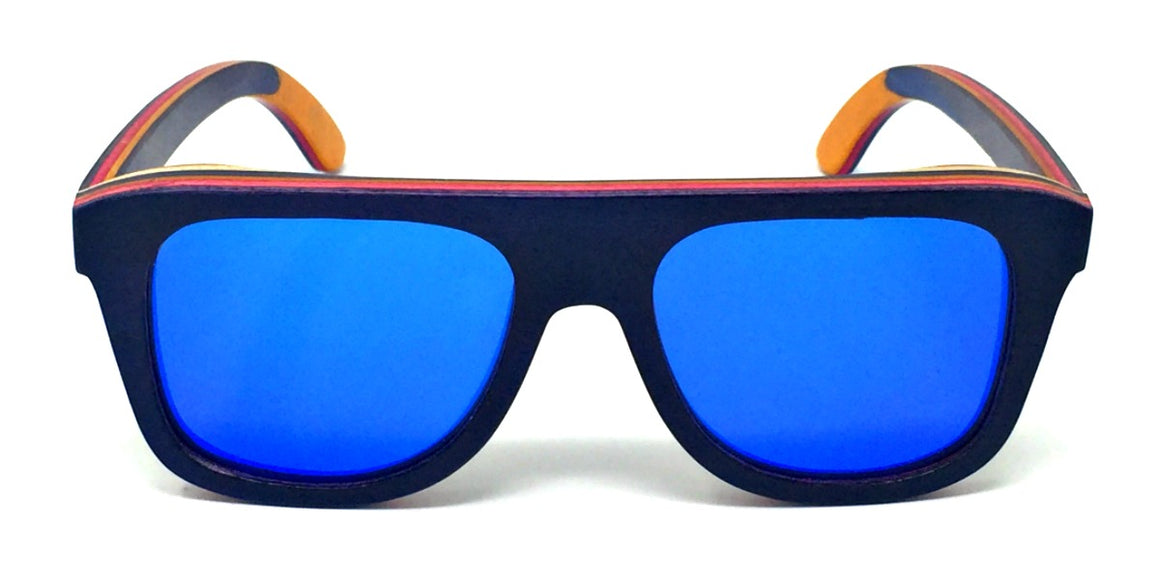 Blane - Layered Wood Kids Sunglasses with Blue Polarized Lenses