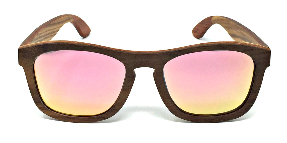 Flynn - Walnut Maple Layered Wood Sunglasses Rose Gold Polarized Lenses
