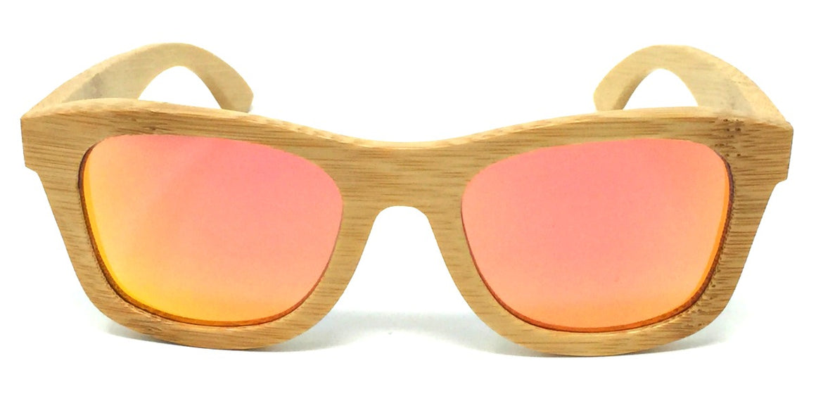 Regan - Bamboo Sunglasses with Orange Polarized Lenses