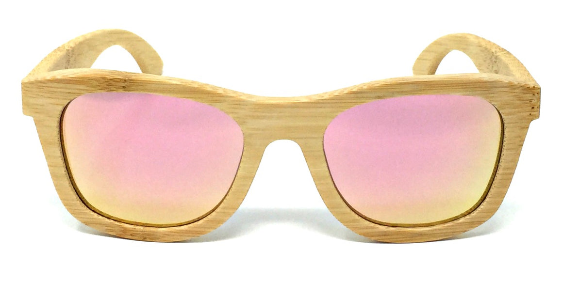 Regan - Bamboo Sunglasses with Rose Gold Polarized Lenses