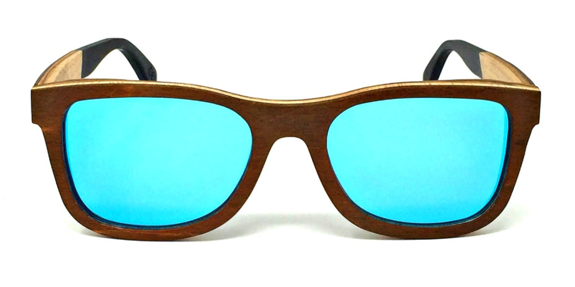 Arlo - Layered Wood Sunglasses with Ice Blue Polarized Lenses