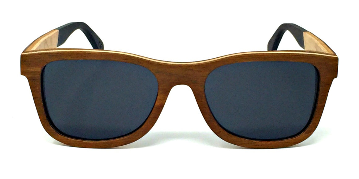 Arlo - Layered Wood Sunglasses with Grey Polarized Lenses