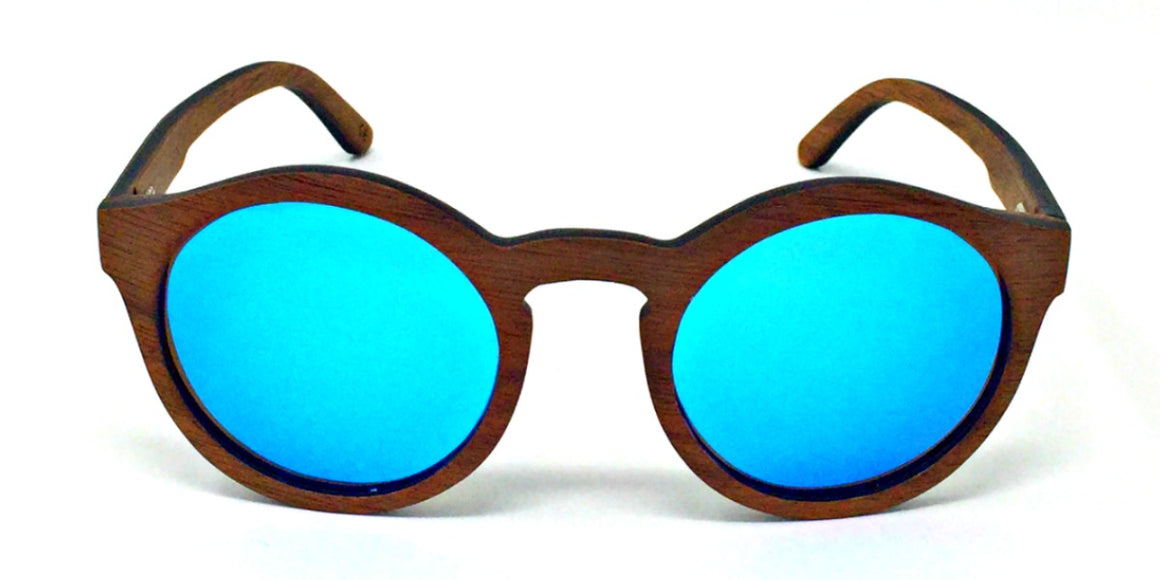 Emmy - Dark Walnut Wood Sunglasses with Ice Blue Polarized Lenses