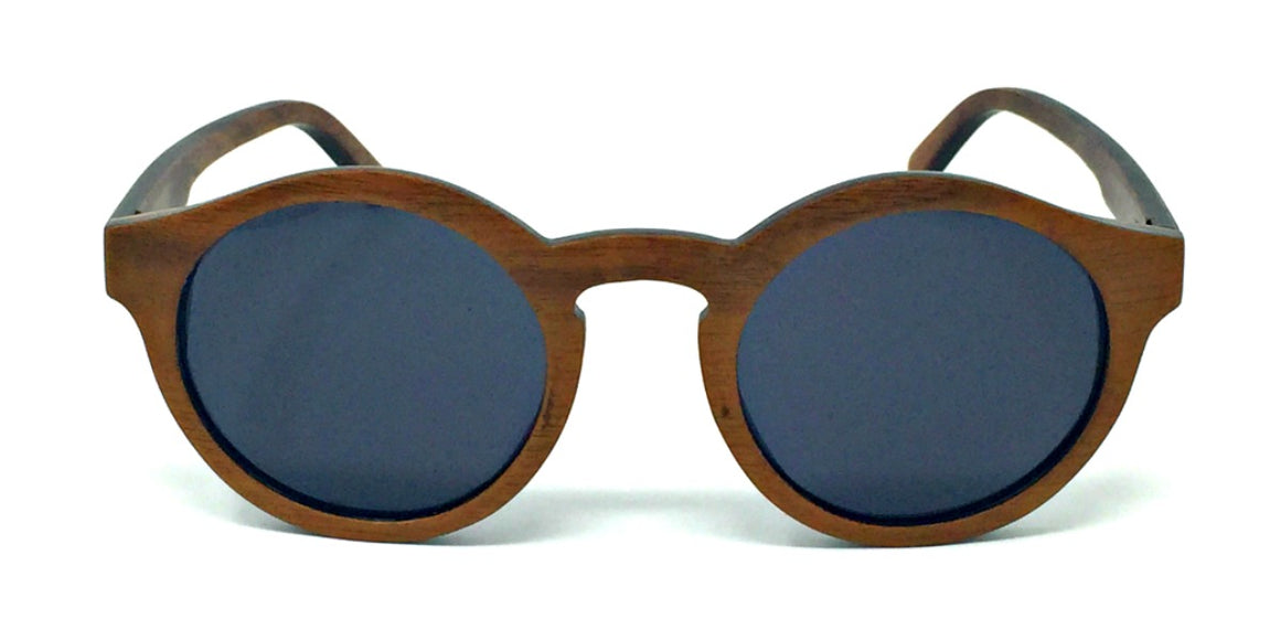 Emmy - Dark Walnut Wood Sunglasses with Grey Polarized Lenses