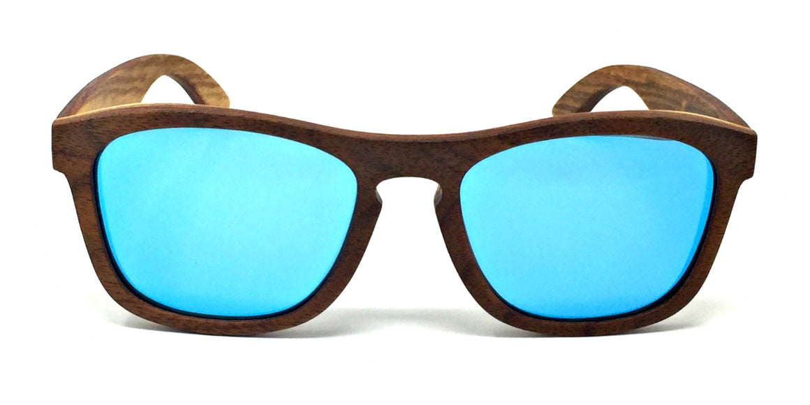 Flynn - Walnut Maple Layered Wood Sunglasses Ice Blue Polarized Lenses