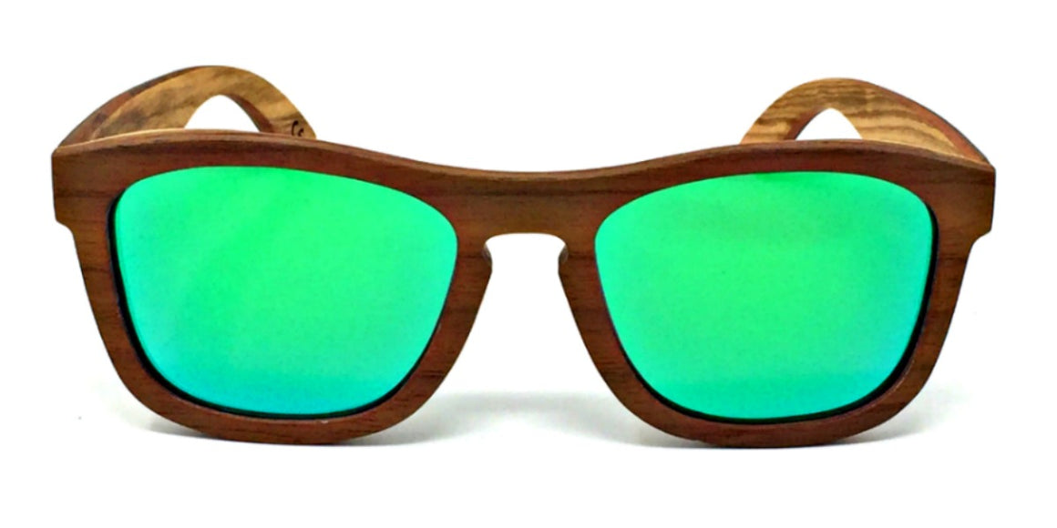 Flynn - Walnut Maple Layered Wood Sunglasses Green Polarized Lenses