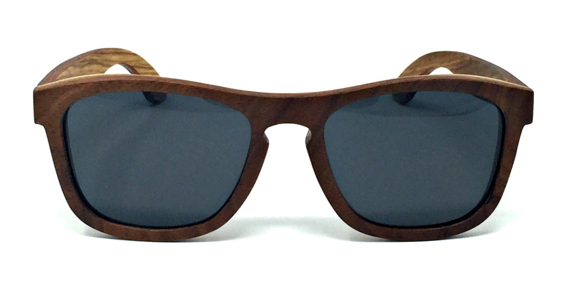 Flynn - Walnut Maple Layered Wood Sunglasses Grey Polarized Lenses