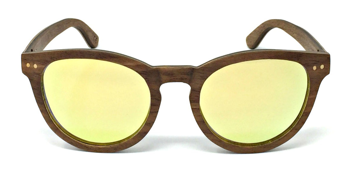 Kara - Layered Wood Sunglasses with Gold Polarized Lenses