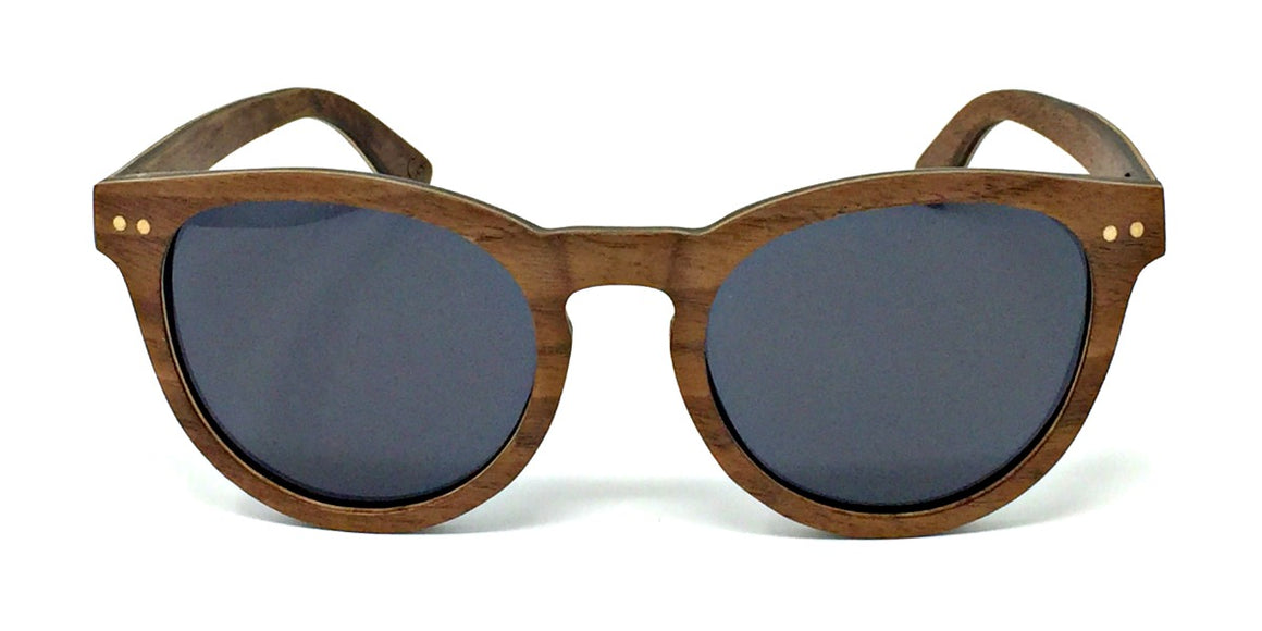 Kara - Layered Wood Sunglasses with Grey Polarized Lenses