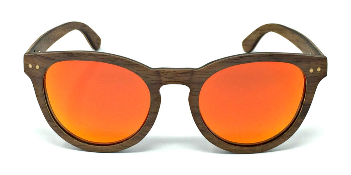 Kara - Layered Wood Sunglasses with Orange Polarized Lenses
