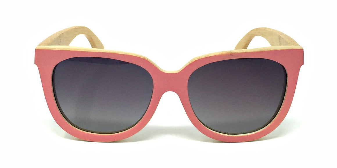 Nora - Pink Bamboo Sunglasses with Polarized Fade Lenses