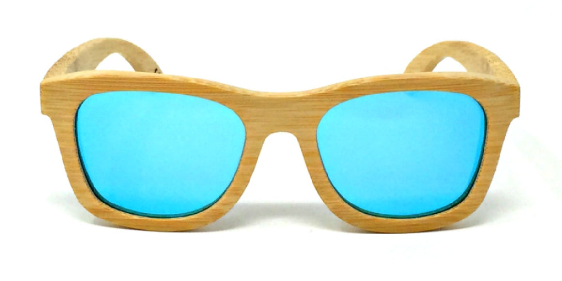 Peyton - Bamboo Kids Sunglasses with Ice Blue Polarized Lenses