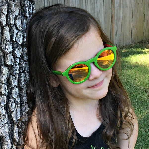 d9476ae2e22 Remy - Green Layered Wood Kids Sunglasses with Orange Polarized Lenses