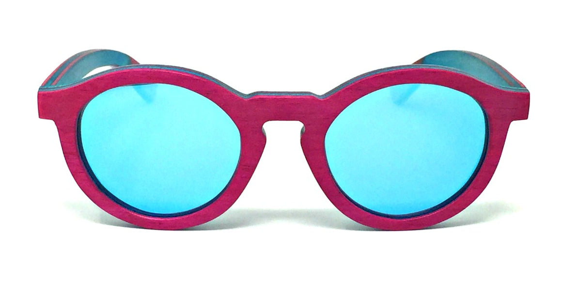Remy - Pink Layered Wood Kids Sunglasses with Ice Blue Polarized Lenses