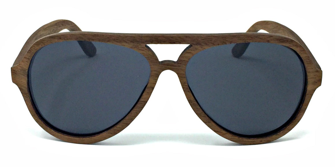 Rider - Dark Walnut Wood Sunglasses with Grey Polarized Lenses