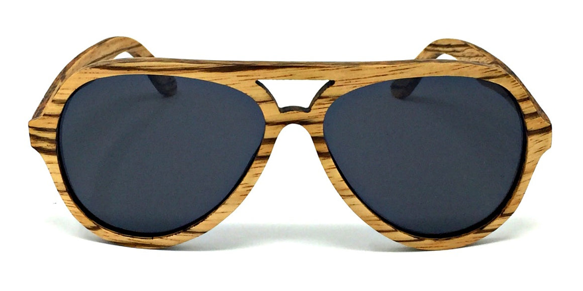 Rider - Zebrawood Sunglasses with Grey Polarized Lenses