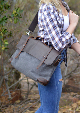 Atticus Canvas Messenger Bag Grey