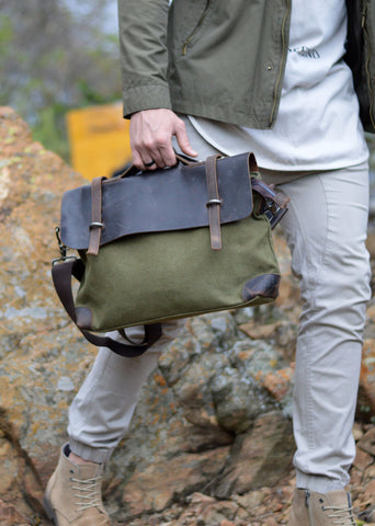 Atticus Canvas Messenger Bag Basil