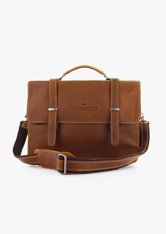 Huckleberry Leather Messenger Bag Light Brown
