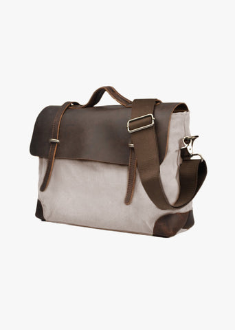 Atticus Canvas Messenger Bag Beige