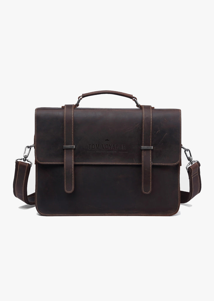 Huckleberry Leather Messenger Bag Dark Brown