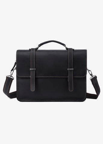 Huckleberry Leather Messenger Bag Black