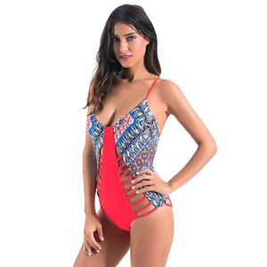 Cut Out  Geometric Pattern Swimsuit - iTrendZone