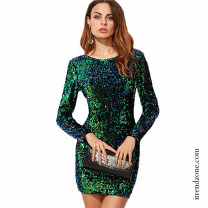 Green Sequin Bodycon Dress - iTrendZone