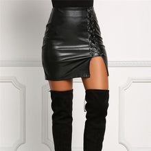 Lace Up Leather mini Skirt - iTrendZone