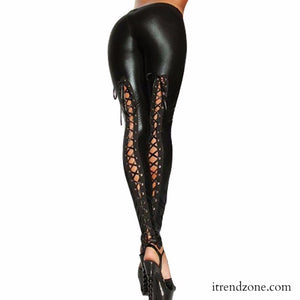 Black Back Lace UP Faux Leather Leggings - iTrendZone