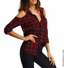 Red Autumn Plaid Blouse - iTrendZone