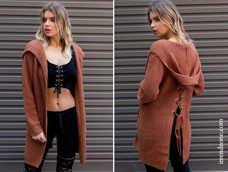 Back Lace-up Hooded Cardigan - iTrendZone