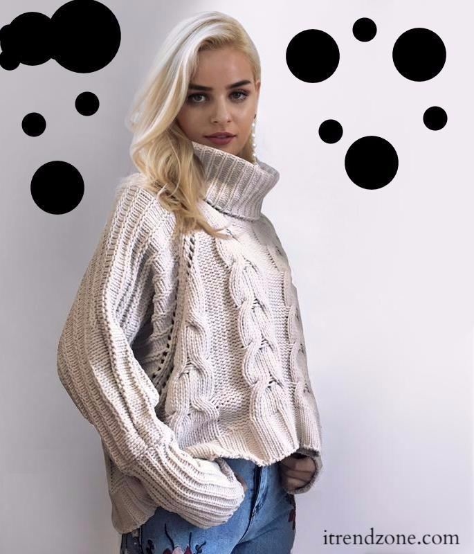 Turtleneck knitted pullover sweater - iTrendZone