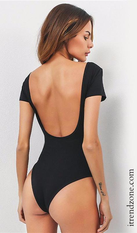 Basic Short Sleeve  Bodysuit - iTrendZone