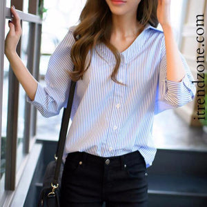 Striped V-Neck Seven Sleeve Button up Blouse - iTrendZone