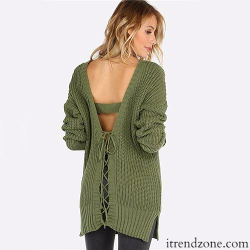 Olive Green Vintage Cut Sweater - iTrendZone
