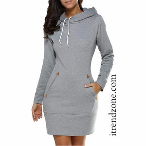Casual Warm Winter Hooded Dresses with Pockets and Long Sleeved - iTrendZone