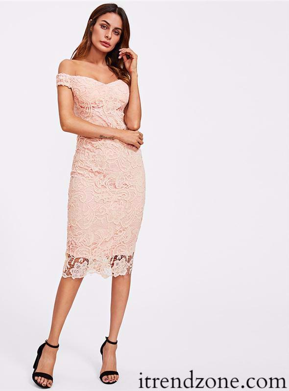 Pink Embroidered Lace Dress - iTrendZone