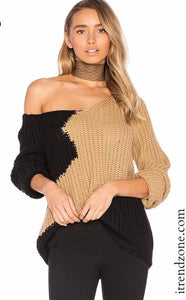 Patchwork Pullover Knitted Sweater - iTrendZone