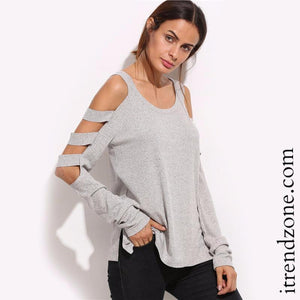 Long Sleeve Cold Shoulder - iTrendZone