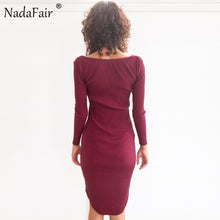Long Sleeve Skinny Low Cut Knitted Cotton Dress - iTrendZone