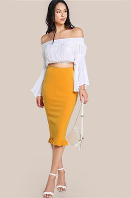 Split Ruffle Pencil Skirt - iTrendZone