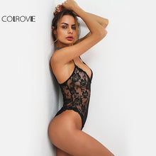 COLROVIE Flower Lace Cami Bodysuit Vintage Semi Sheer Women Black Slim Sexy Bodysuits 2017 Summer New Skinny Basic Thin Bodysuit - iTrendZone