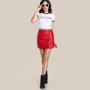 Red Leather Mini Skirt - iTrendZone