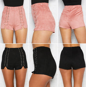 Lace Up Suede Shorts - iTrendZone