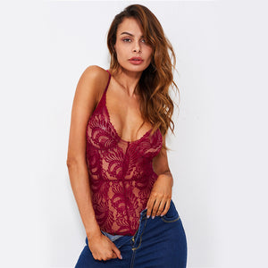 Sheer Lace Sexy Cami Bodysuit - iTrendZone