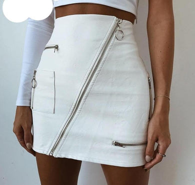 White Leather Skirt - iTrendZone