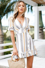 Stripe V Neck Dress - iTrendZone