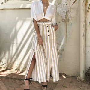 Striped Split High Waist - iTrendZone