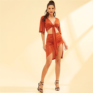 Orange Knot Front Cutout Top With Skirt - iTrendZone